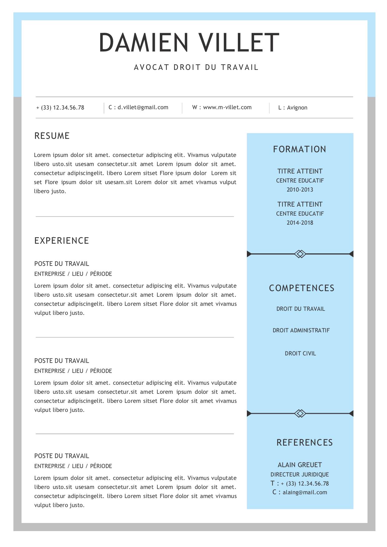 Modèles De Cv Gratuits Au Format Word Modeles Cv Fr