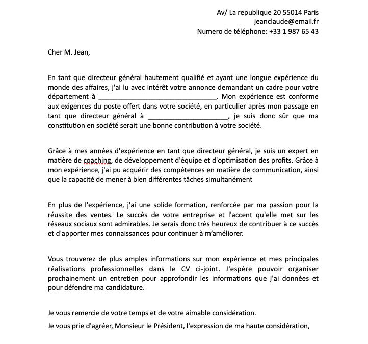 un exemple de lettre de motivation pour un poste de directeur ou cadre en format word