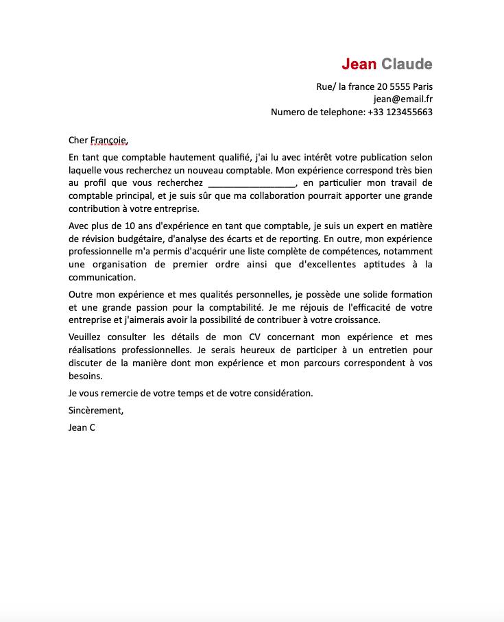 Exemple de lettre de motivation pour BTS comptable