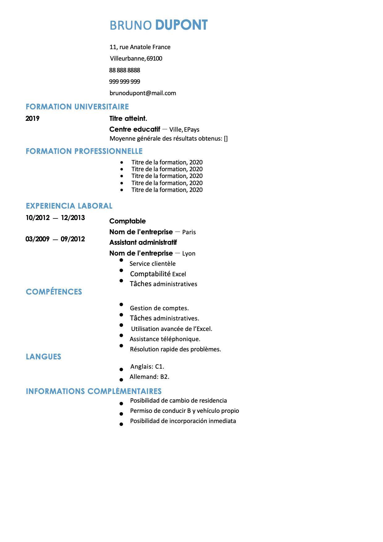 modele de cv comptable sans photo