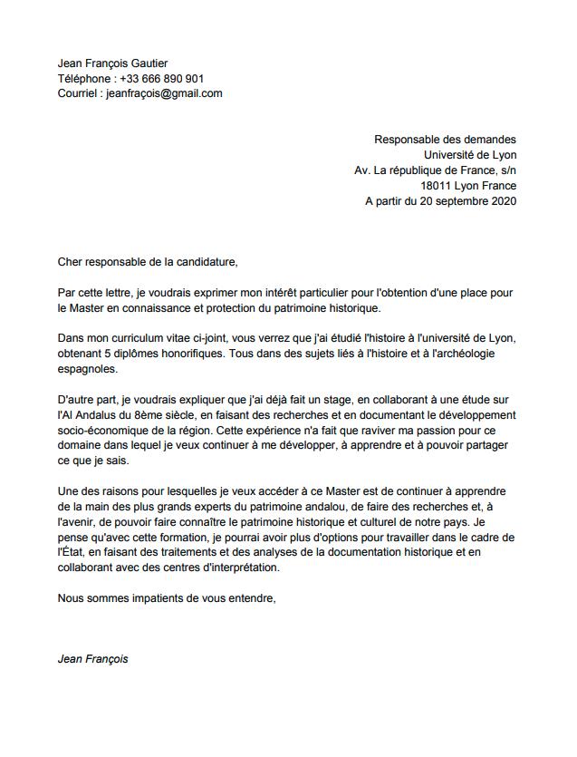 lettre de motivation pour un master