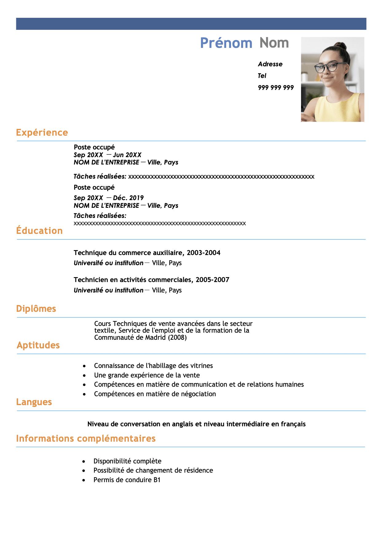 modele cv vendeuse français en format word