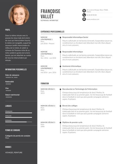 CV responsable informatique