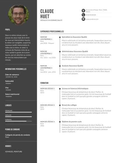 CV assurance qualité