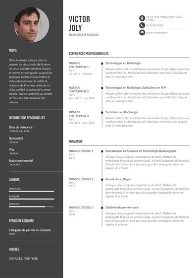 CV d'un technologue en radiologie